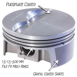 408 - 427 Mahle Powerpack 4032 Forged Flat Top Pistons with Rings